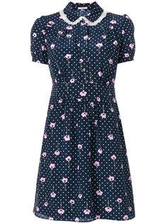 платье в горох с цветочным принтом  Miu Miu