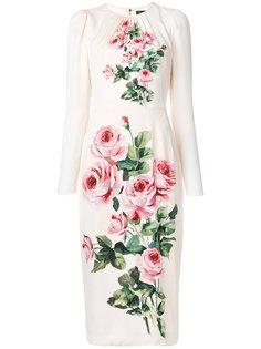 платье миди с оборками и принтом  Dolce & Gabbana