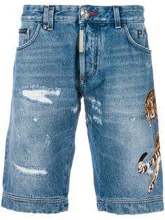 джинсовые шорты с заплаткой Tiger  Philipp Plein
