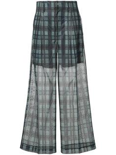широкие прозрачные брюки в клетку Toga Pulla