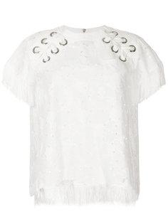 футболка с вышивкой и шнуровкой Sacai