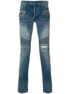 джинсы в байкерском стиле Balmain