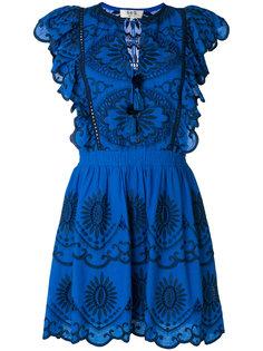 платье с оборками и вышивкой  Sea