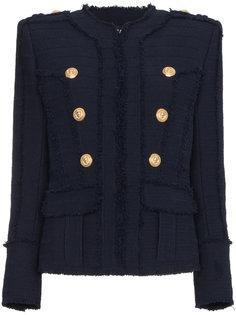 твидовый пиджак без воротника в стиле милитари  Balmain