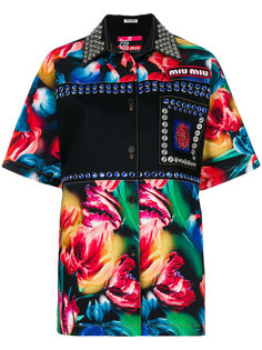 декорированная рубашка с цветочным принтом Miu Miu