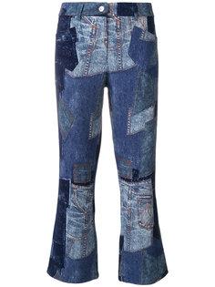укороченные брюки в стиле пэчворк  Moschino