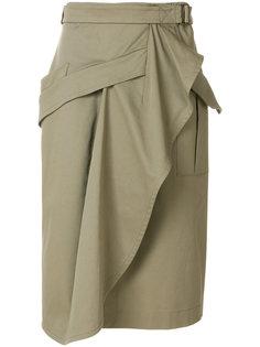 юбка с запахом и драпировкой Alberta Ferretti