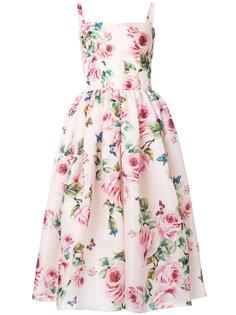 расклешенное платье с цветочным принтом  Dolce & Gabbana
