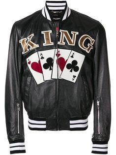 куртка-бомбер King с принтом игральных карт Dolce & Gabbana