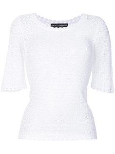 ажурный свитер с вырезом-ковш  Dolce & Gabbana