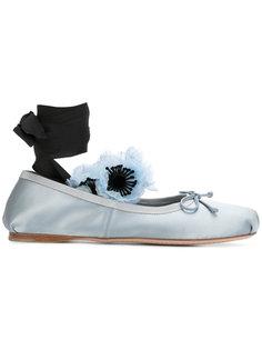 балетки с деталью в форме цветка Miu Miu