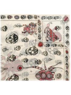 шарф с прином черепов и пауков Alexander McQueen