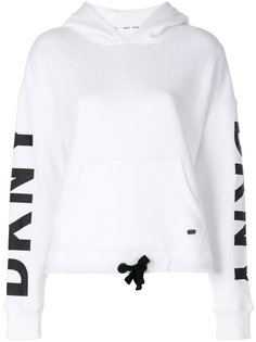 толстовка с капюшоном и логотипом на рукавах DKNY