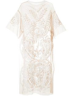 полупрозрачное платье с вышивкой  Maison Mihara Yasuhiro
