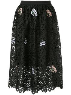 кружевная многослойная юбка с цветочной вышивкой  Markus Lupfer