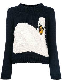 укороченный свитер с принтом лебедя JW Anderson