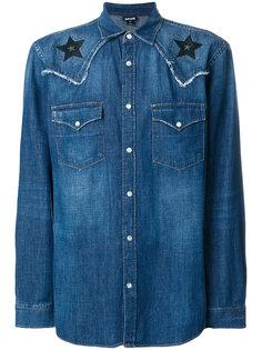 джинсовая рубашка с заплатками в виде звезд Just Cavalli
