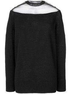 свитер с прозрачной вставкой Prada