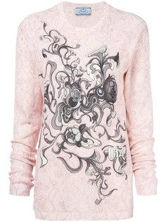 свитер с круглым вырезом и принтом  Prada