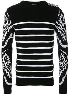 свитер с полосатым узором Balmain