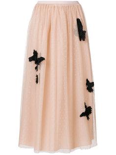 юбка из тюля с аппликацией в аиде птиц Red Valentino