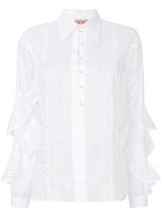 полупрозрачная рубашка с оборками на рукавах  Nº21
