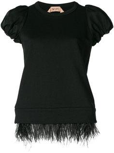 футболка-толстовка с отделкой перьями  Nº21