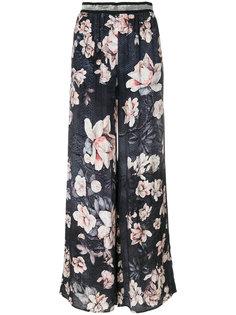брюки с принтом роз Just Cavalli