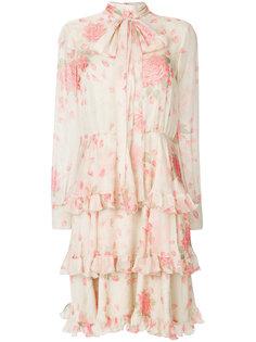 ярусное платье с цветочным принтом  Valentino