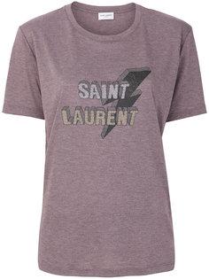 футболка с принтом молнии Saint Laurent
