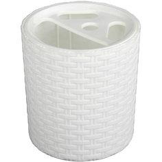 "Подставка ""Плетёнка"" для зубных щёток, Alternativa, белый"