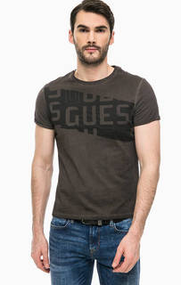 Коричневая футболка с короткими рукавами Guess