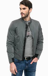 Серая демисезонная куртка на молнии Guess