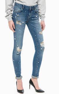 Синие джинсы скинни с отделкой камнями и бусинами Guess