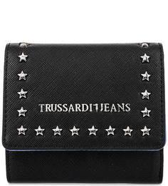 Черный кошелек с металлическим декором Trussardi Jeans