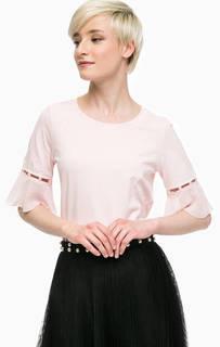 Розовая футболка с отделкой бусинами Liu Jo