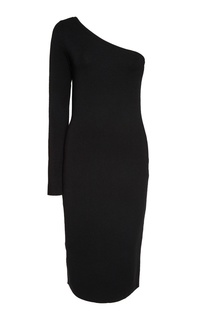 Черное платье с открытым плечом Diane von Furstenberg