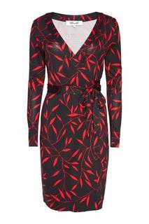 Черное шелковое платье с запахом Diane von Furstenberg