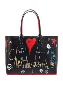 Кожаная сумка с принтом Cabata Christian Louboutin