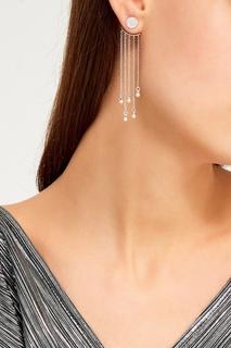 Серебряные серьги с подвесками-цепочками Exclaim