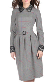 Пышное платье приталенного силуэта с кружевом Olivegrey
