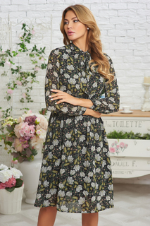 Шифоновое платье-миди с цветочным принтом Vittoria Vicci