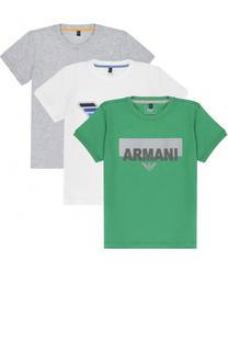 Хлопковый комплект из трех футболок с принтом Armani Junior