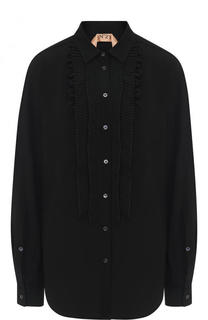 Однотонная блуза с плиссированными оборками No. 21
