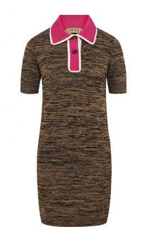 Вязаное мини-платье с коротким рукавом No. 21