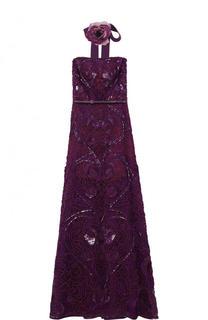 Платье-бюстье с поясом и вышивкой Elie Saab