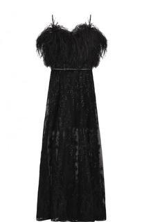 Платье-бюстье с поясом и отделкой из пера страуса Elie Saab