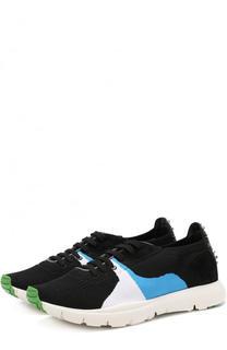 Текстильные кроссовки на шнуровке с замшевой отделкой Valentino