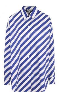 Хлопковая блуза свободного кроя в полоску Kenzo
