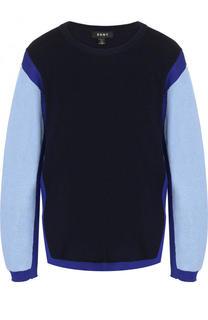 Хлопковый свитшот с круглым вырезом и контрастными рукавами DKNY